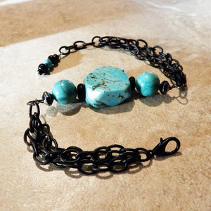 Turquoise Chunks + Black Chains BOHO Bracelet